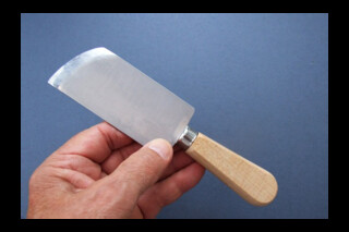 Paring knife, French style, oblique curved blade, right handed