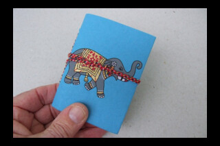 Small Indian hand made notebook ~ patterned fabric cover